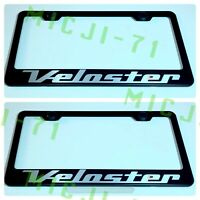 2X Veloster Stainless Steel Chrome Finished License Plate Frame Rust Free W// Cap