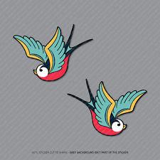 2 X Golondrinas Pájaros Pegatinas De Vinilo Calcomanías Coche Furgoneta Computadora portátil - 73 Mm x 52 Mm - 2935