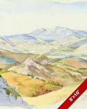 THE SABINE HILLS FROM CIVITELLA ITALY WATERCOLOR PAINTING ART REAL CANVAS PRINT