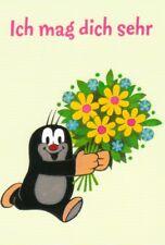 Ansichtskarte: Ich mag Dich sehr - Der kleine Maulwurf mit Blumen