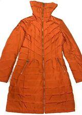 Michael Kors Womens Full Zip Orange Size S Zip Pockets Winter Long Jacket Coat