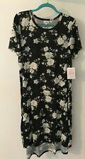 2Xl LuLaRoe Carly Dress Black Bg W White & Super Lite Blue Floral Print Nwt