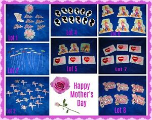 New Vintage Mother's Day Plastic PICKS/lcaketops Cupcakes, Bento, treats, crafts