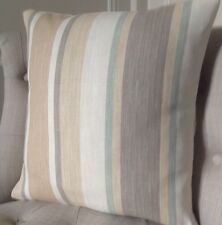 "16x16 ""Copricuscino Laura Ashley Awning STRIPE Eau de Nil / Biscotto & Austen indietro"