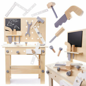 Werkbank aus Holz für Kinder XXL mit Werkzeug Zubehör Holzwerkbank Spielzeug