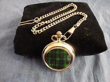 Reloj de bolsillo Reloj Negro (2) Tartán con cadena (nuevo) (nombre de cualquier disponible)