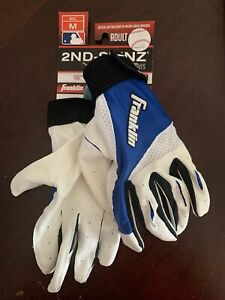 Franklin  2ND SKINZ Adult Batting Gloves Size Medium White And Blue NEW