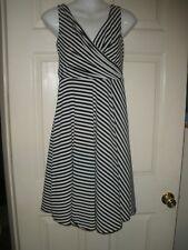 #1230 Isaac Mizrahi New York Black White Striped V-Neck Swing Dress Size 6