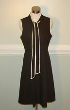 JCrew $198 Petite Tie-Neck Dress in Italian Wool Crepe Sz 2P Black G0206 AVL