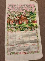 Vintage 1974 Linen Calendar Tea Towel Bless This House Verse Cottage Colorful