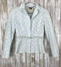 Blumarine Light Blue Eyelet Lace Blazer Jacket Beaded Crystal 42 S Small ITALY