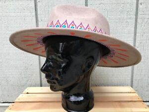 Hand Painted Mexican Sombrero Hat - Mexican Painted Panama Cowgirl Hat - Large
