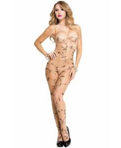 Flower Vine Leaf Print Sheer Crotchless Bodystocking - Music Legs 1061