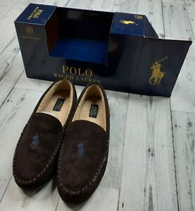 NEW Polo Ralph Lauren Memory Foam Slippers Men's Size 10 Brown with Blue Pony