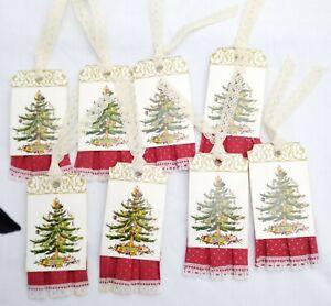 Vintage CHRISTMAS TREE Gift Tag 8 Pack Lot - Handmade Scrapbooking Cardmaking