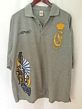 ED HARDY Men Shirt 2XL Polo S/S Graphic Hip Hop Tattoo Casual USA