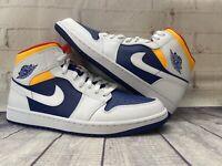 Nike Air Jordan 1 Mid Royal Blue Orange Shoes 554724-131 Men's Size 11.5 NEW