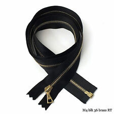 "RiRi Zipper m4, 1 Way Separating End, Brass, Black 2110, Satin Tape, Flach, 36"""