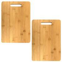 2er Set Bambus Küchenbrett 36x25cm Servier Brettchen Schneidebrett aus Holz