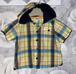 Boys Age 3-6 Months - Ted Baker Hooded Shirt - Summer Short Sleeved