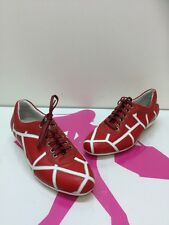 Salvatore Ferragamo Red/white  Leather Sneakers Shoes Size 7B