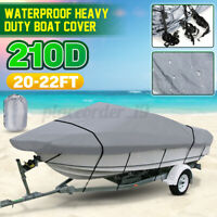210D 20-22FT Heavy Duty Boat Cover For V-Hull Speedboat Skiing Sport Waterproof