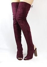 Shoe Republic Kris Open Toe Cut Out Over The Knee Thigh High Chunky Heel Boots