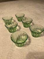 Hazel Atlas Depression Green Glass Custard Nut Cup Small Bowl  Set of 6