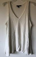 Miss Chievous Women's Size Medium Ivory Raw Hem Soft Waffle Knit Tank Top Shirt