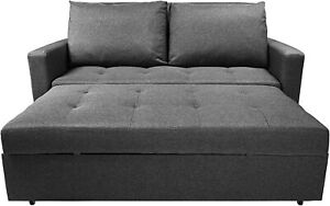 BOOZY 2Seater GREY Sofa Bed (Click Clack) Convertible pull out Bed 3 Positions
