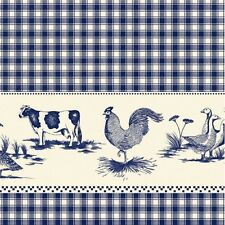 Blue Check Farmyard Vinyl Oil Cloth