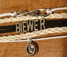 "Biewer Dog ""Love"" & ""Top Dog"" Charms Suede Leather Bracelet *free shipping"