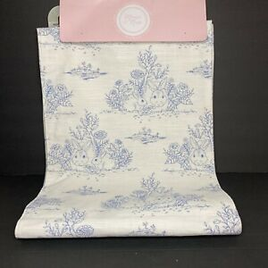 """MAEVE & ROSE BLUE WHITE Toile Easter Table Runner 16 x 90"""" Bunny 100% Cotton NWT"""