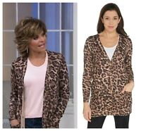 LISA RINNA COLLECTION SOFT LEOPARD PRINT BOYFRIEND LONG CARDIGAN  QVC  NEW  $ 83