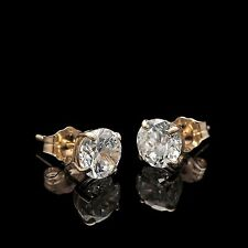 1.80Ct Created Diamond Solitaire Earrings 14K Yellow Gold Basket Round Cut Studs