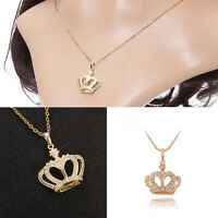 Women Classic Gold Plated Crown Pendant Rhinestone Chain Necklace Jewelry GifHC