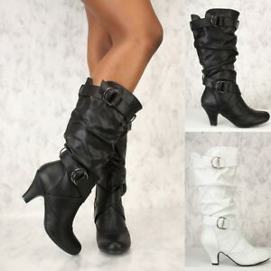 New Ladies Chunky Heels Slouch Mid Calf Boots Buckle Strap Pull on Casual Shoes