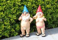 2x Garden Gnomes Standing Naked Nude Drinking Lady Man Naughty Gnome Statue 29cm