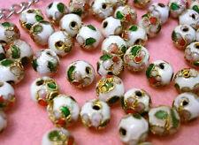SALE~20 Hand Paint Floral 8mm Bead/Gold Flower Trim/Beading/DIY Craft Q12-White