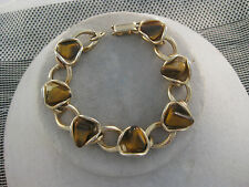 Estate Costume Tiger Eye Piece Link Chain Bracelet Gold Tone 7""