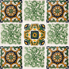 Set #115) With Nine Mexican Tiles Ceramic Clay Handmade Handcrafted Mexico Tile
