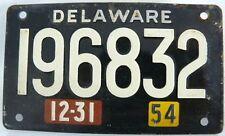 WHEATIES MINI LICENSE PLATE (TAG) DELAWARE 12-31  1954
