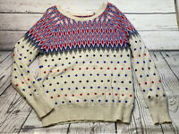 AMERICAN EAGLE Nordic Sweater Women's Red White Blue Xl Wool Rabbit Crewneck