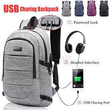 Unisex Large Anti-Theft Lock Laptop Backpack USB Charging Port Travel School Bag