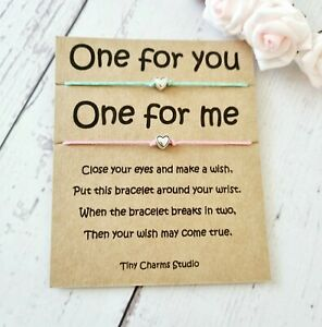 Set Of 2 Heart Wish Bracelet Best Friend Friendship Bracelets Pinky Promise