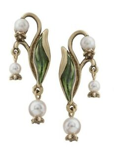 Victorian Trading Co Shelley Cooper Lily Of The Valley Brass & Pearl Earrings