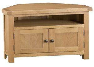 Toledo Oak Corner TV Unit / Solid Wood Media Cabinet / Television Stand