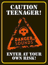 retro metal signs - Caution Teenager (gift, games room, man cave, garage, shed)