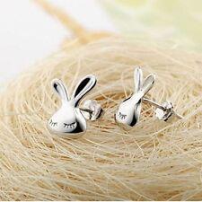 Sunshine White Animal Silver Appearance Kid Lovely Stud Earrings Rabbit Cute