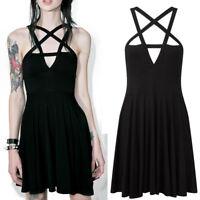 US Women Christmas Gothic Pentagram Neck Dress Party Mini Sundress Summer Skirt